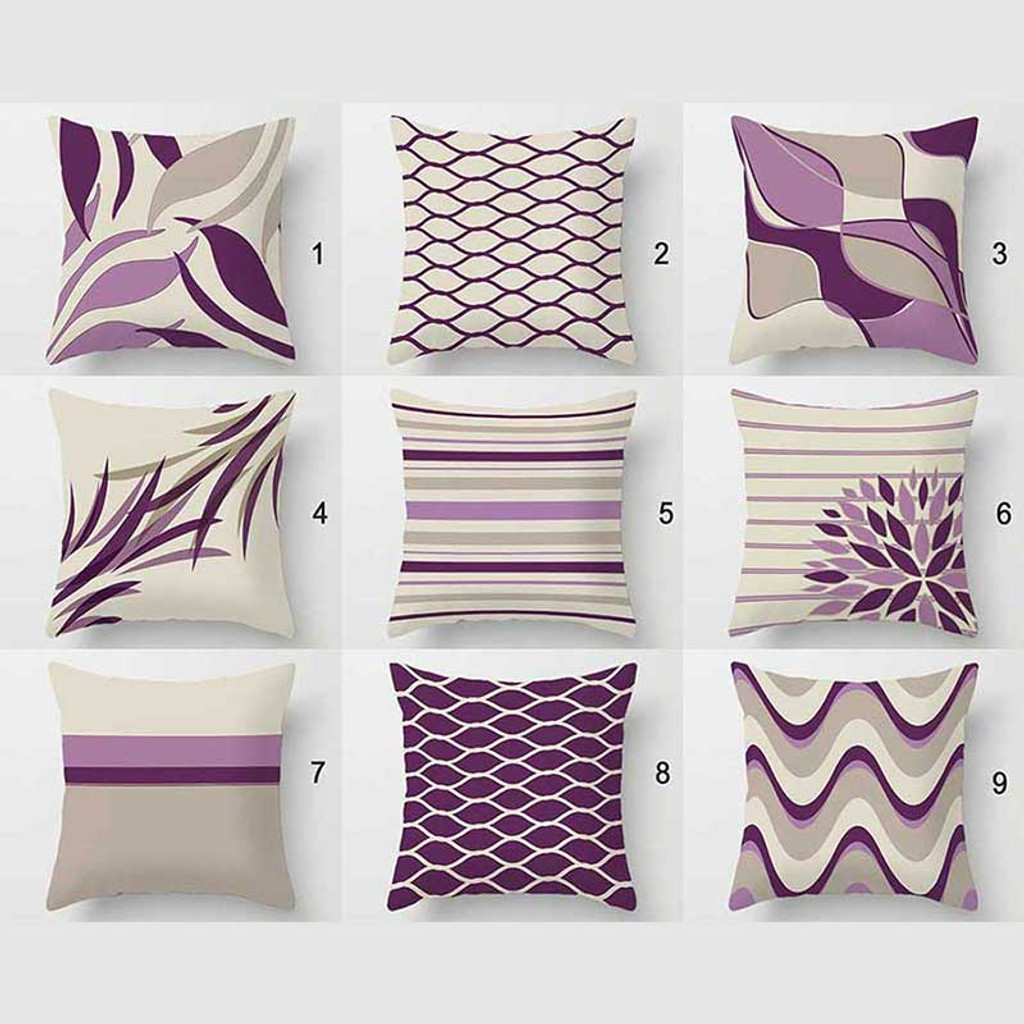 collection of decorative pillows in lavender, gray and purple