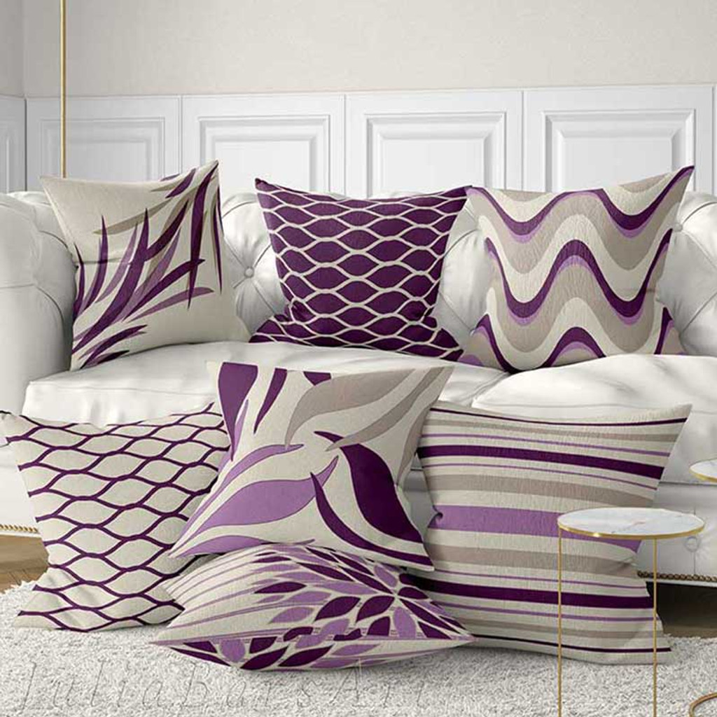 purple and gray decorative pillows, throw pillow covers by Julia Bars