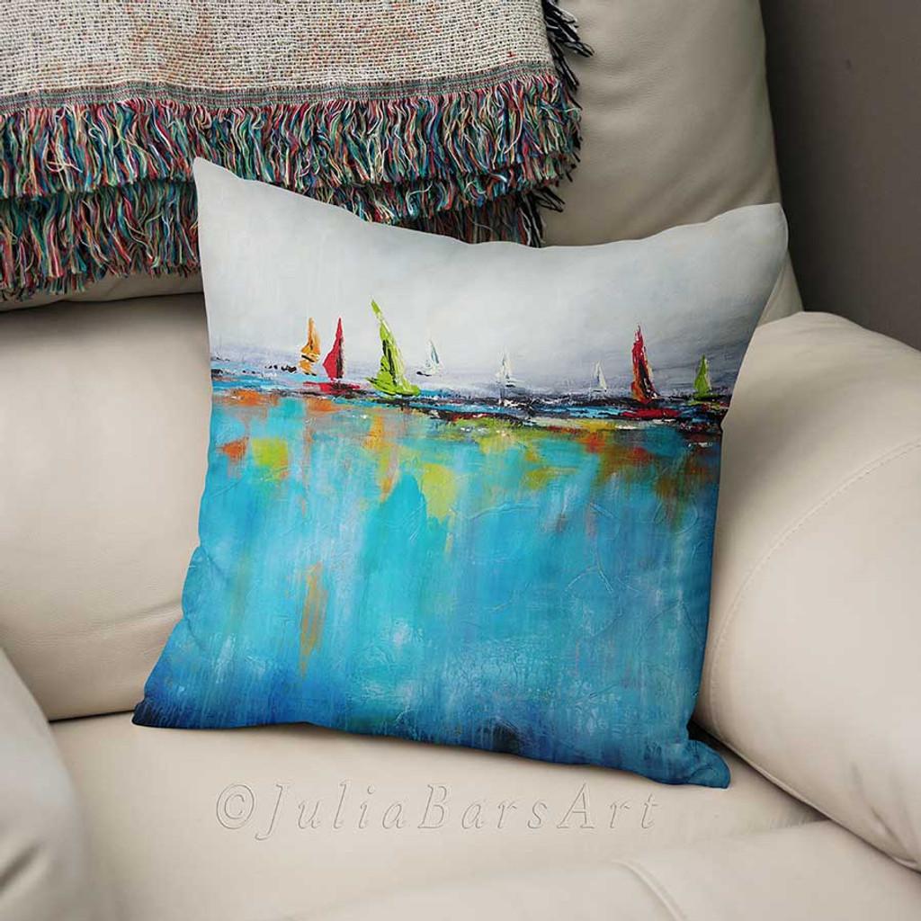blue throw pillow cover, art pillow by Julia Bars