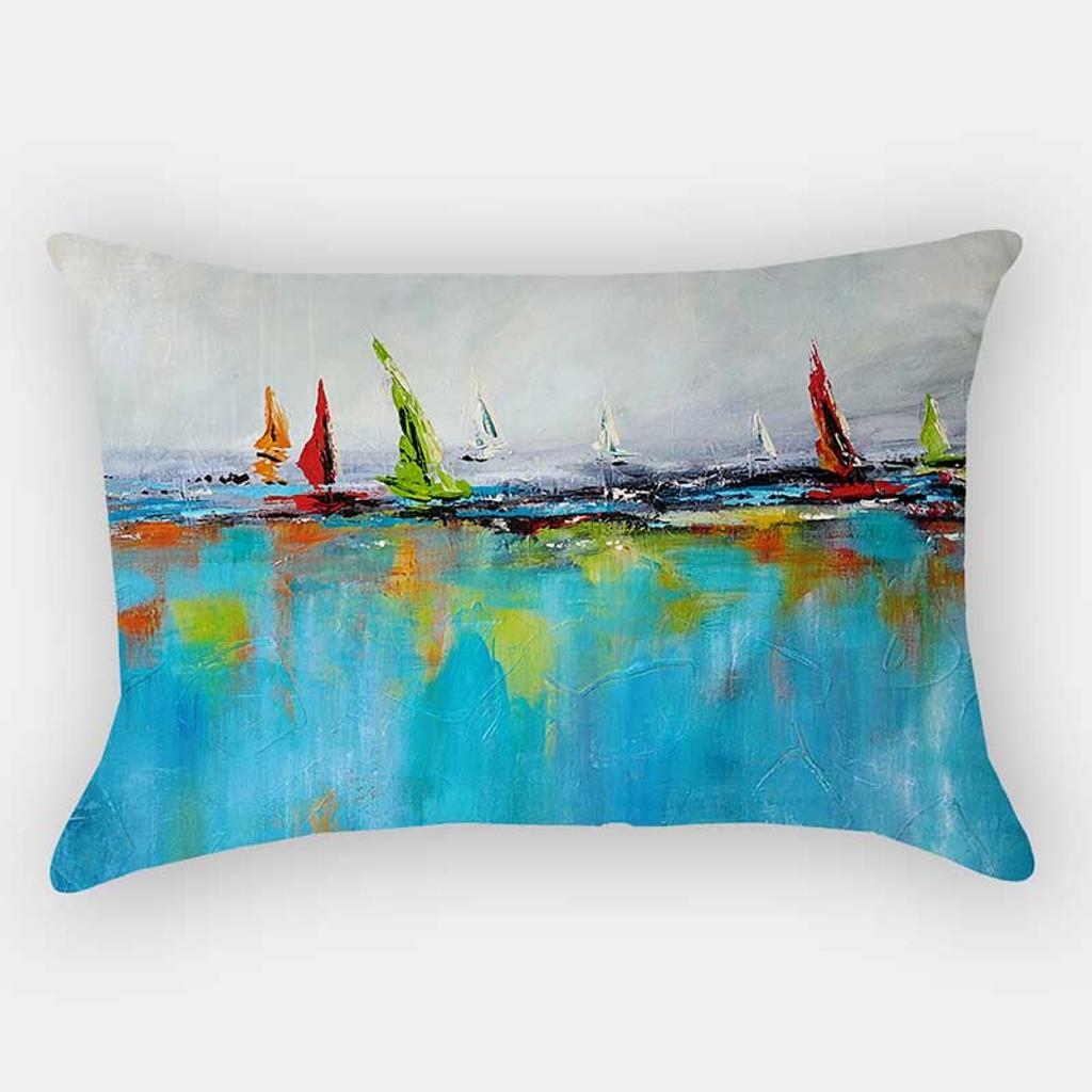 rectangular pillow, lumbar pillow with seascape art by Julia Bars