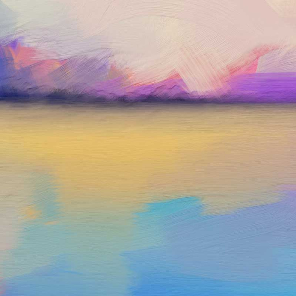 fragment of abstract landscape painting in blue, purple and yellow