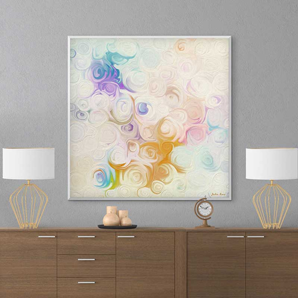 abstract floral painting, white, blue, yellow roses
