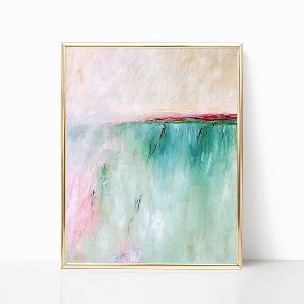 large digital download painting in teal and pink