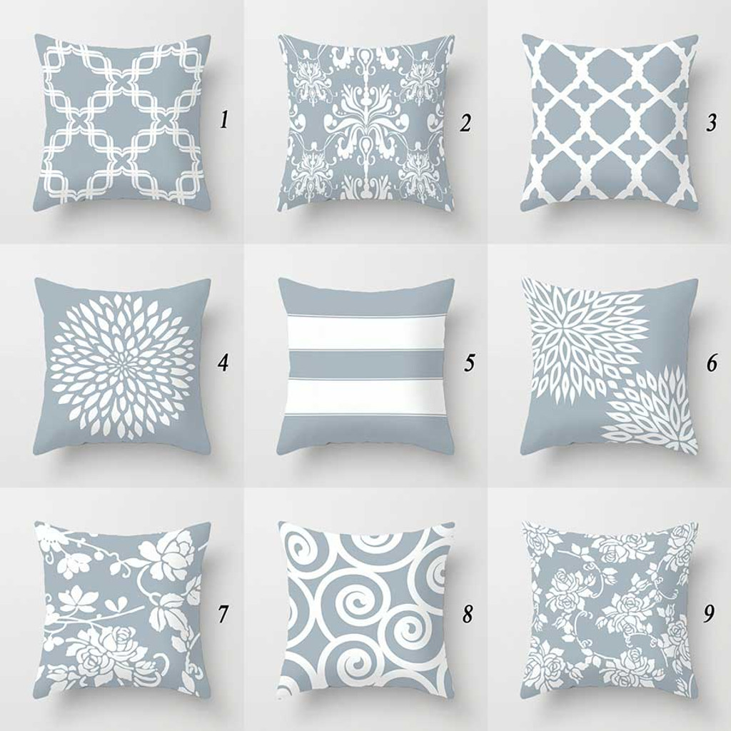 gray and white designer throw pillows with original designs