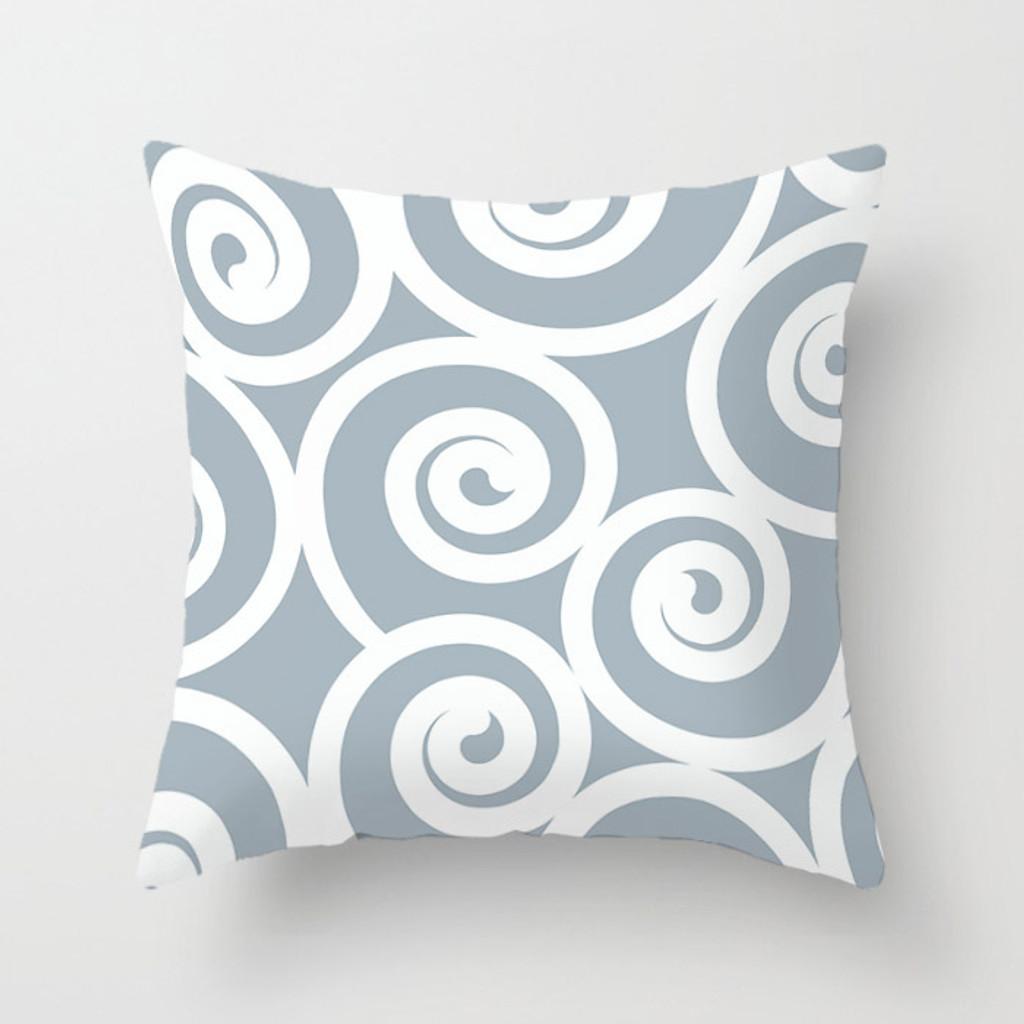 original throw pillow in pale blue with spirals design