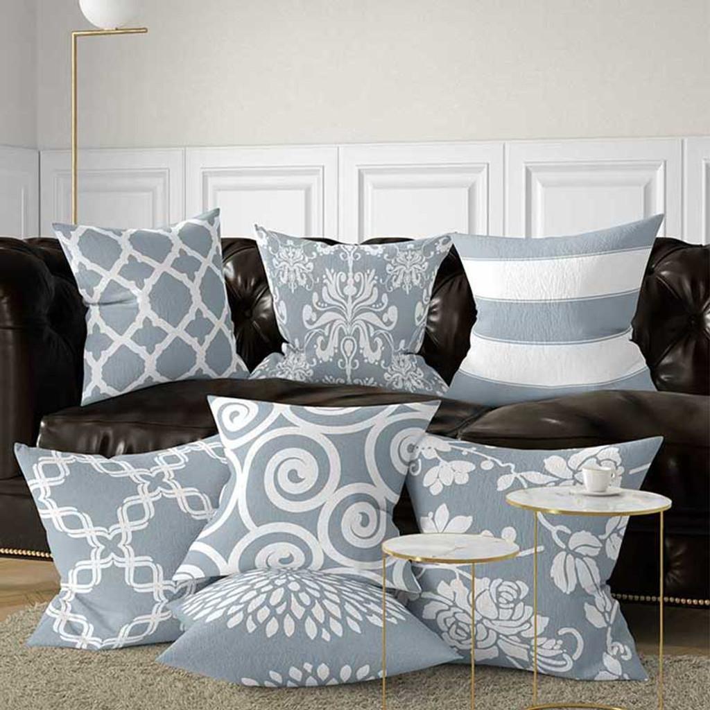 designer throw pillows, gray-blue cushions with geometric design