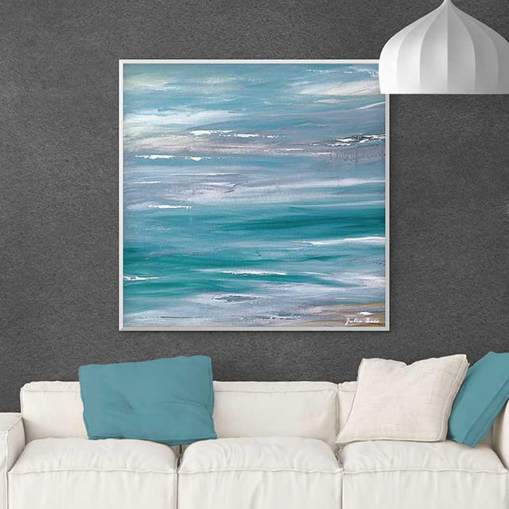 large abstract ocean painting, wave painting in blue and gray
