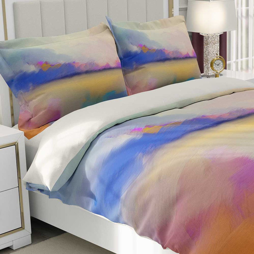 designer duvet cover with abstract landscape by Julia Bars
