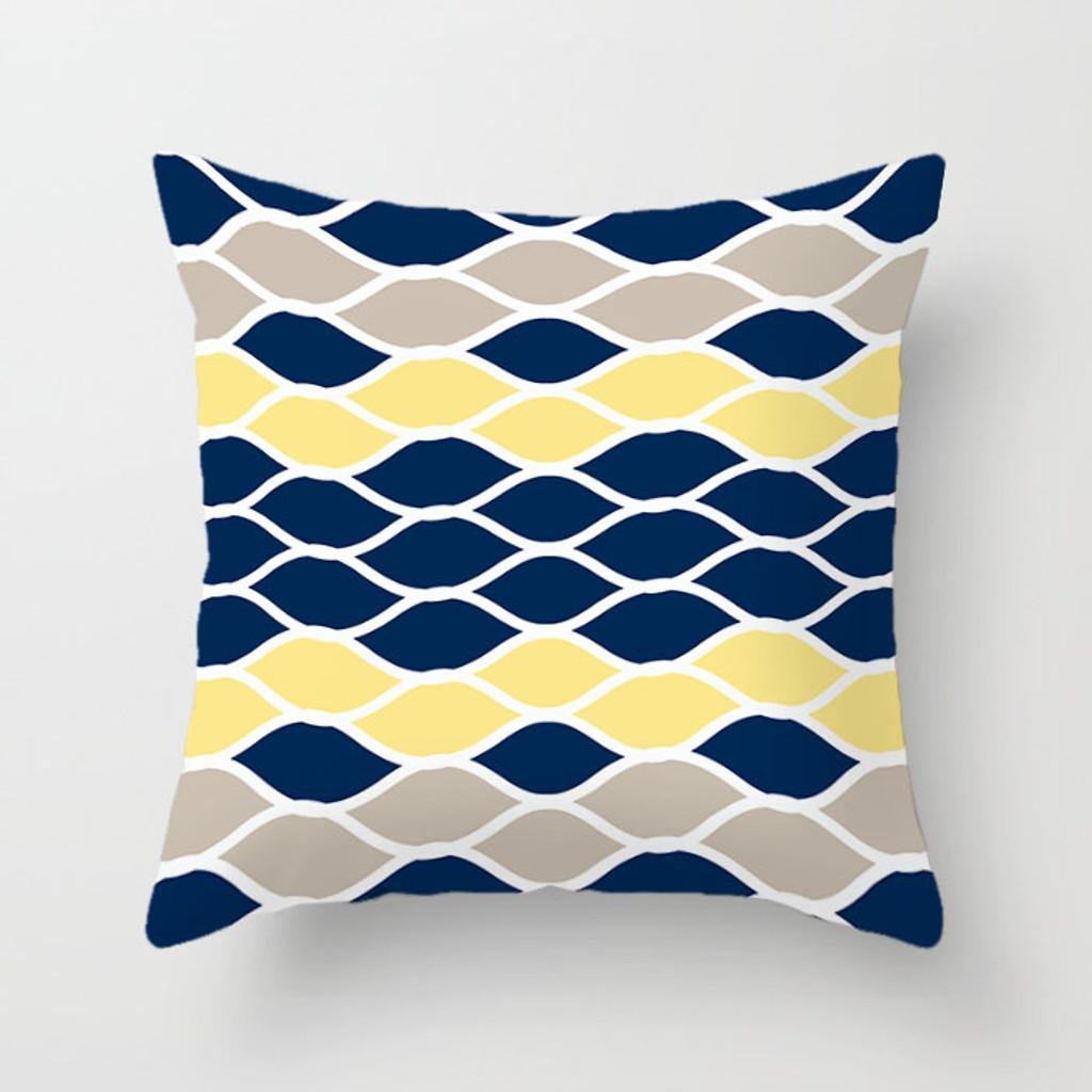 Navy Blue, Yellow and Gray Throw Pillow Covers, Geometric Lumbar Pillows