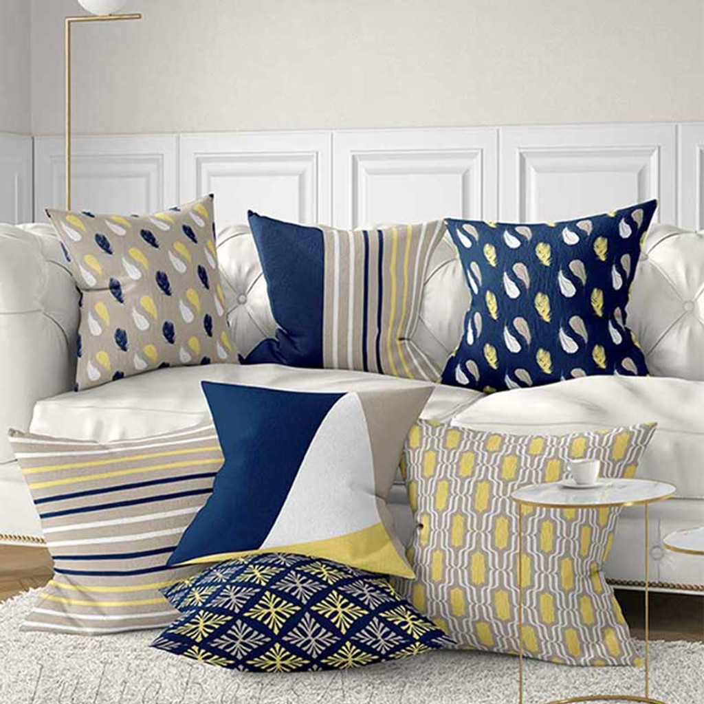 Throw pillows covers with floral and geometric patterns, blue, yellow
