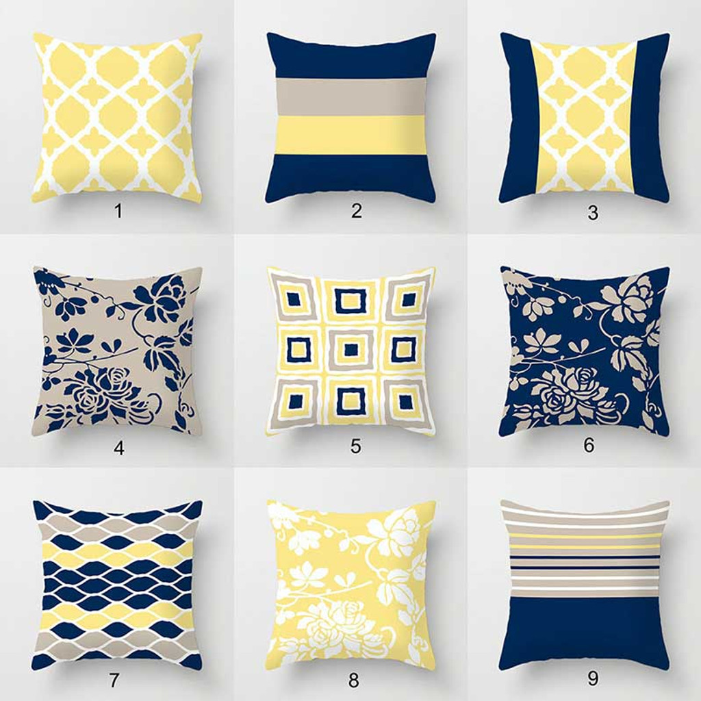 Collection of decorative pillow covers, blue, gray, yellow