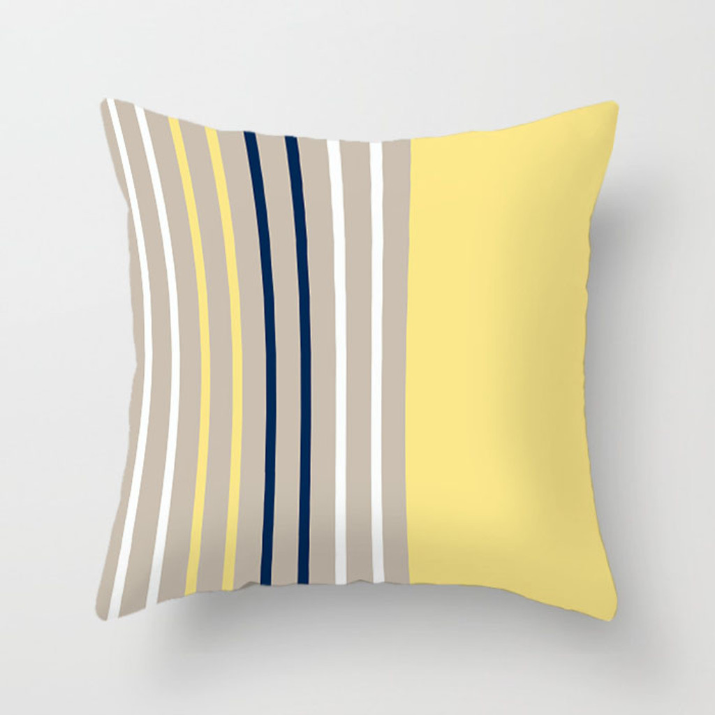 yellow, blue and beige striped pillow