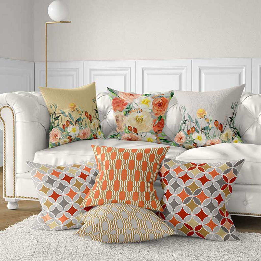 Floral Decorative Cushions Pillow Covers With Roses Coral Red