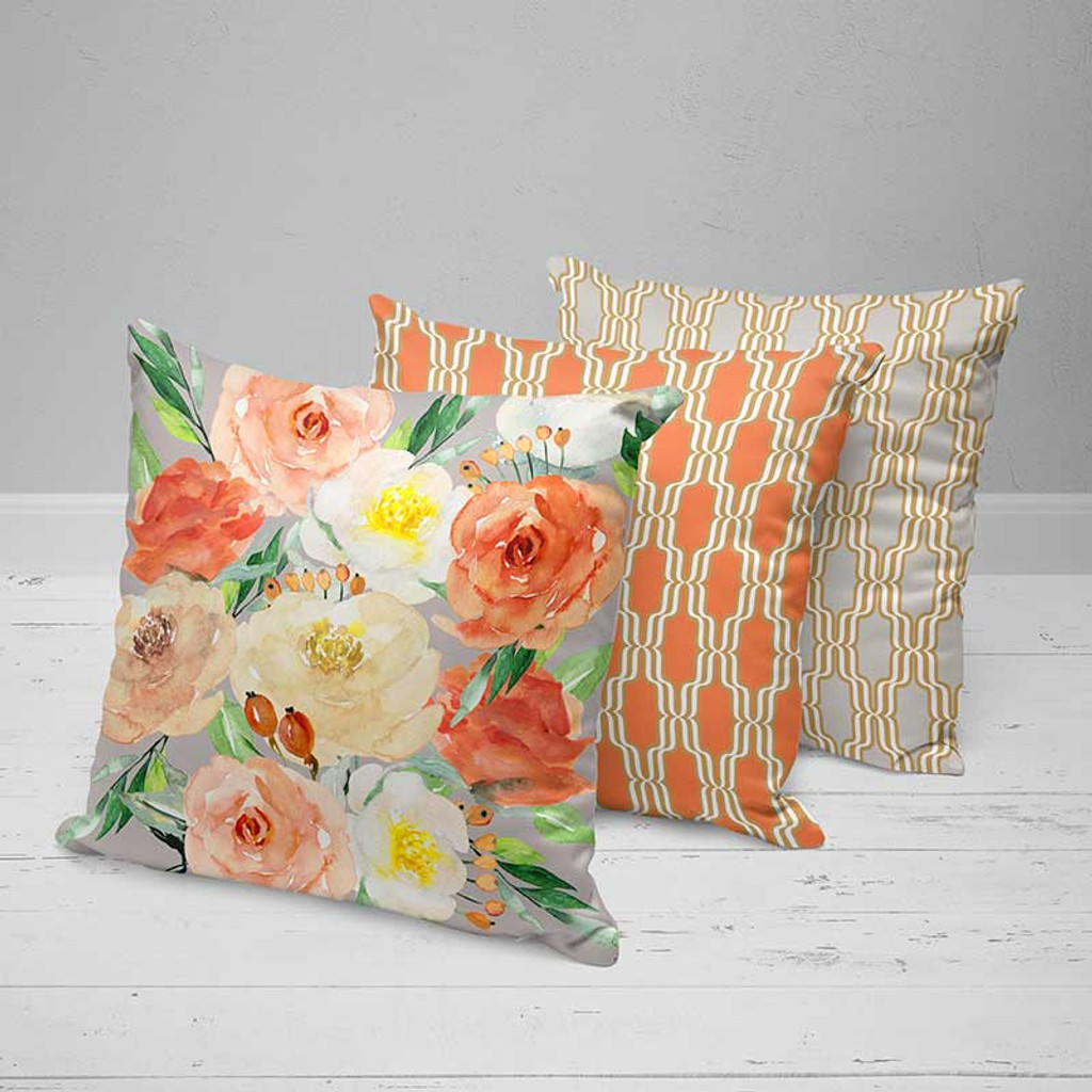 Floral Decorative Cushions, Pillow Covers with Roses, Coral Red, Yellow, Gray