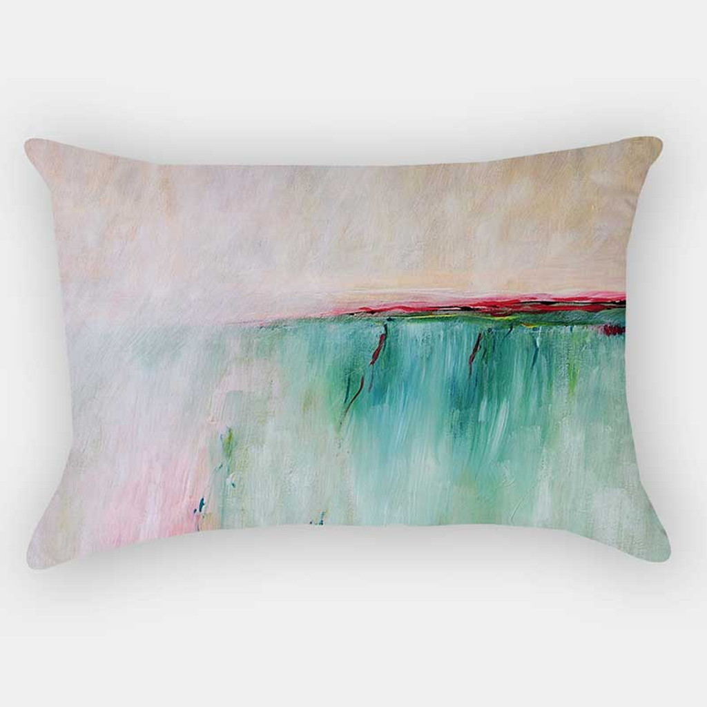 Abstract Art Pillow Cover, Pink, Pale Yellow, Blue and Turquoise