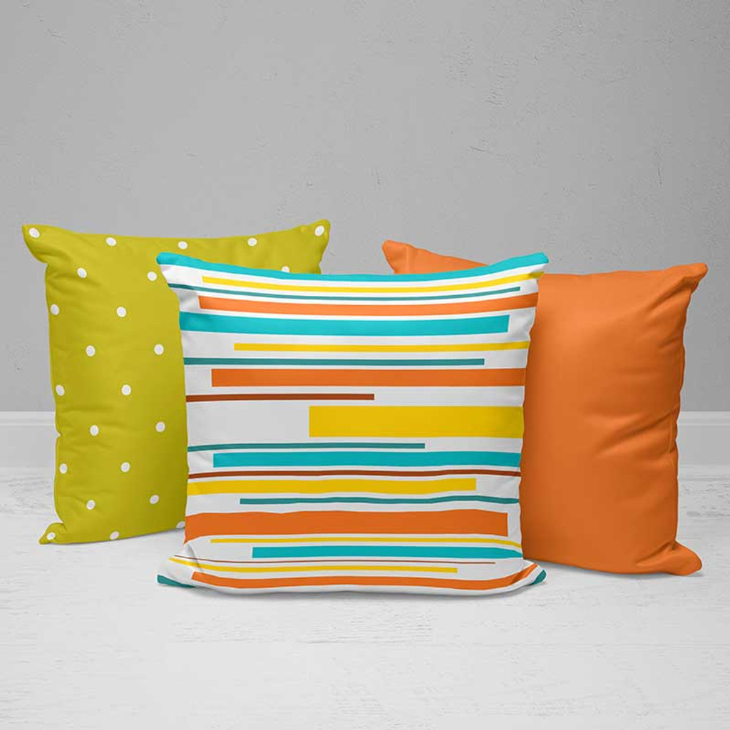 Bright Outdoor Pillows with Stripes and Polka Dots, Green, Yellow, Orange, Teal