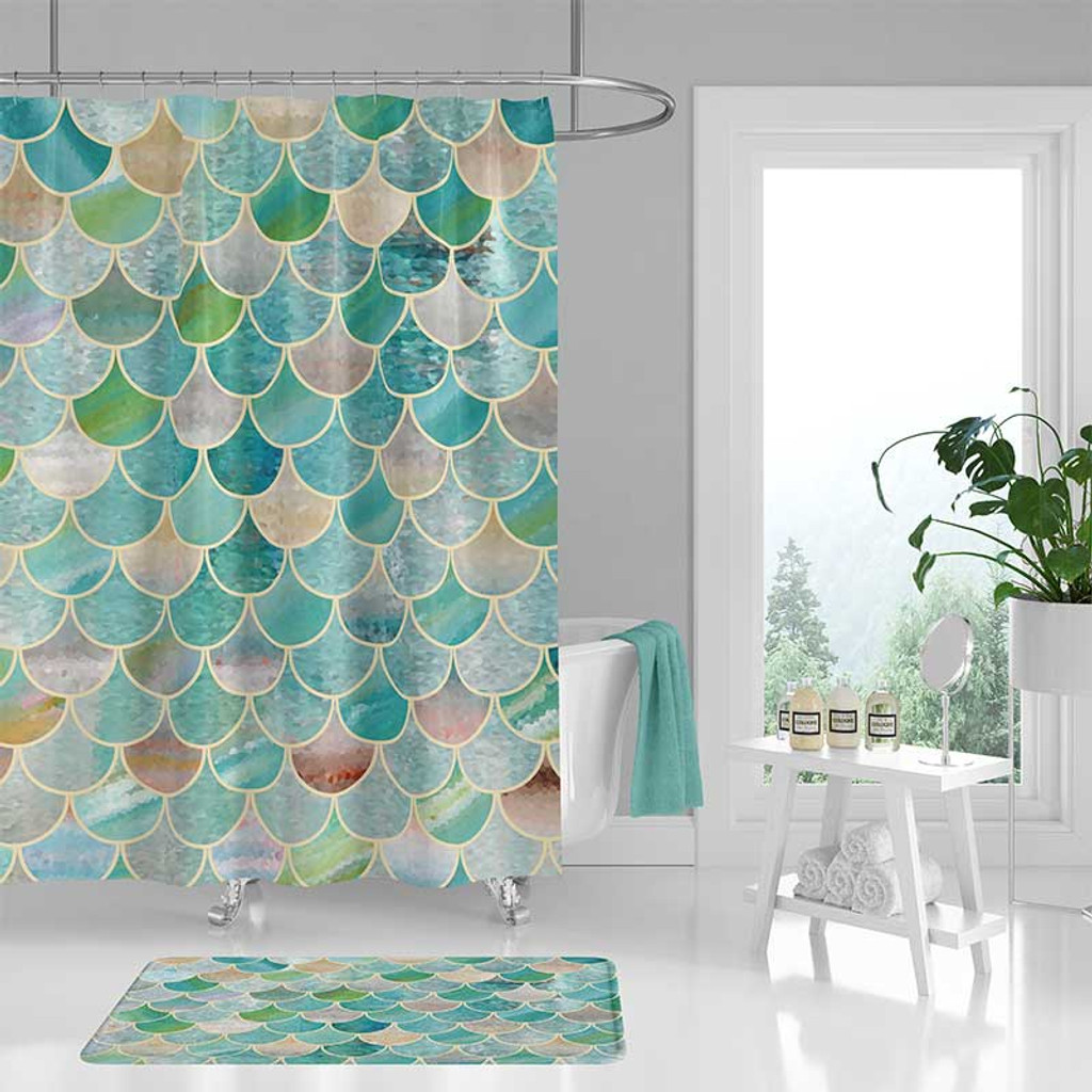 mermaid scale shower curtain and bath mat