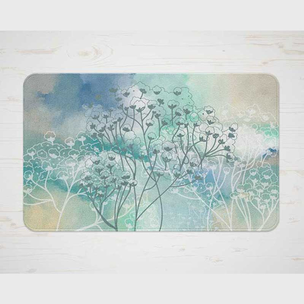 watercolor bath mat in blue and beige