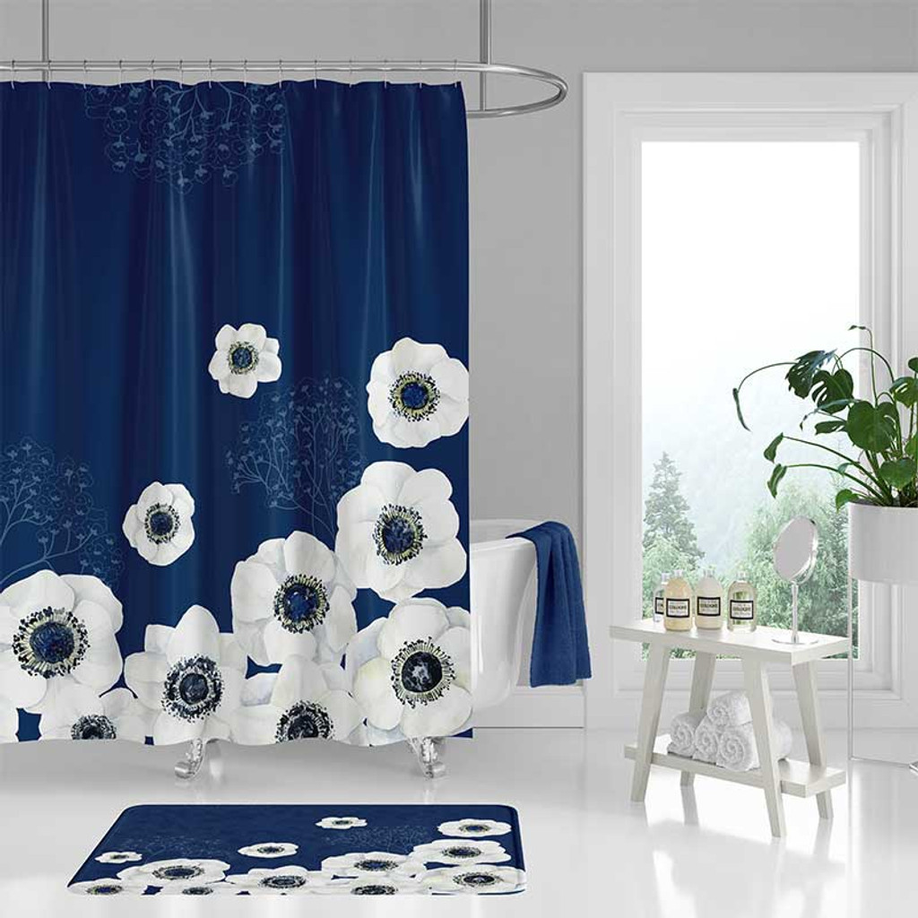 Floral Shower Curtain And Bath Mat Set Large Flowers Blue White