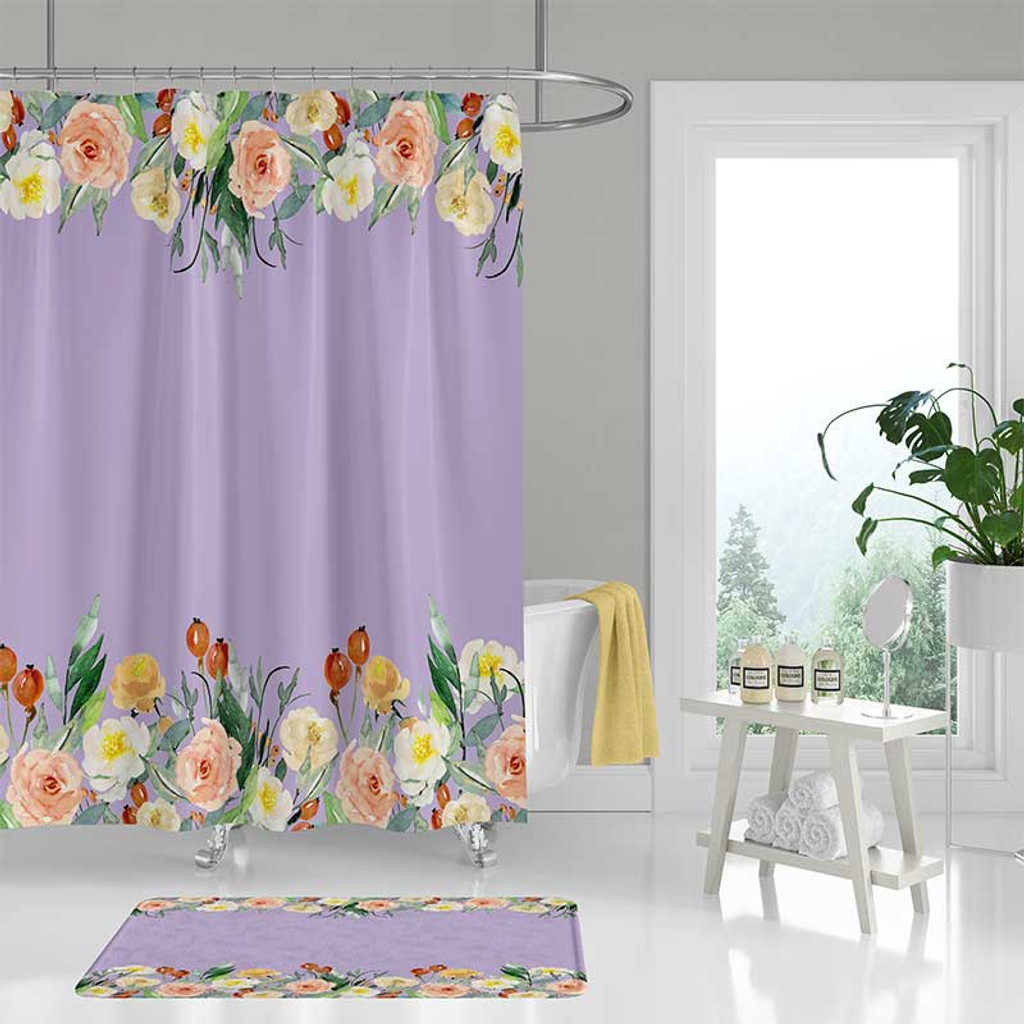 lavender shower curtain with large flowers
