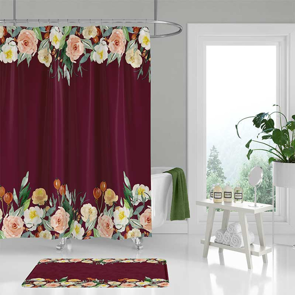 burgundy shower curtain with floral design