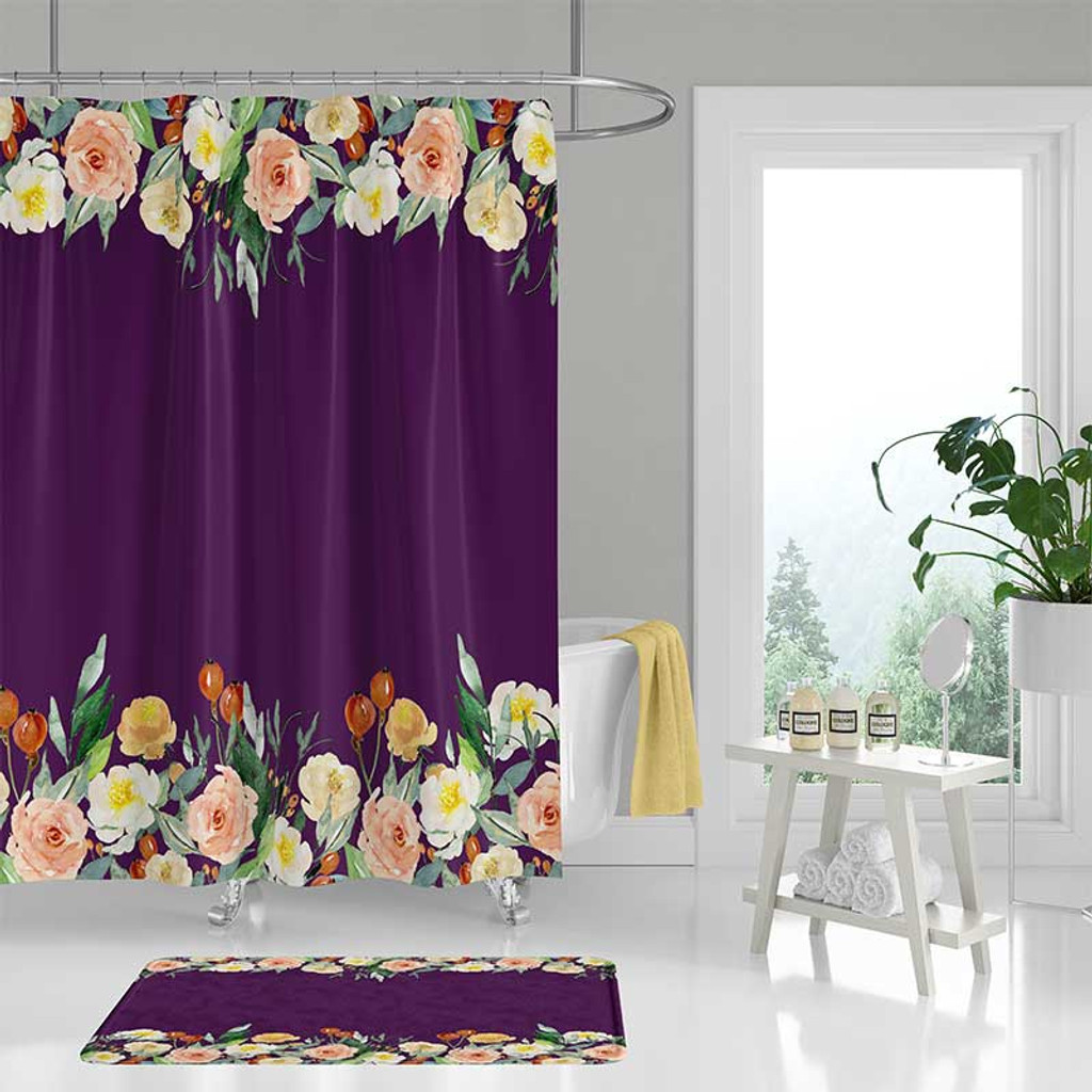 purple shower curtain with flowers