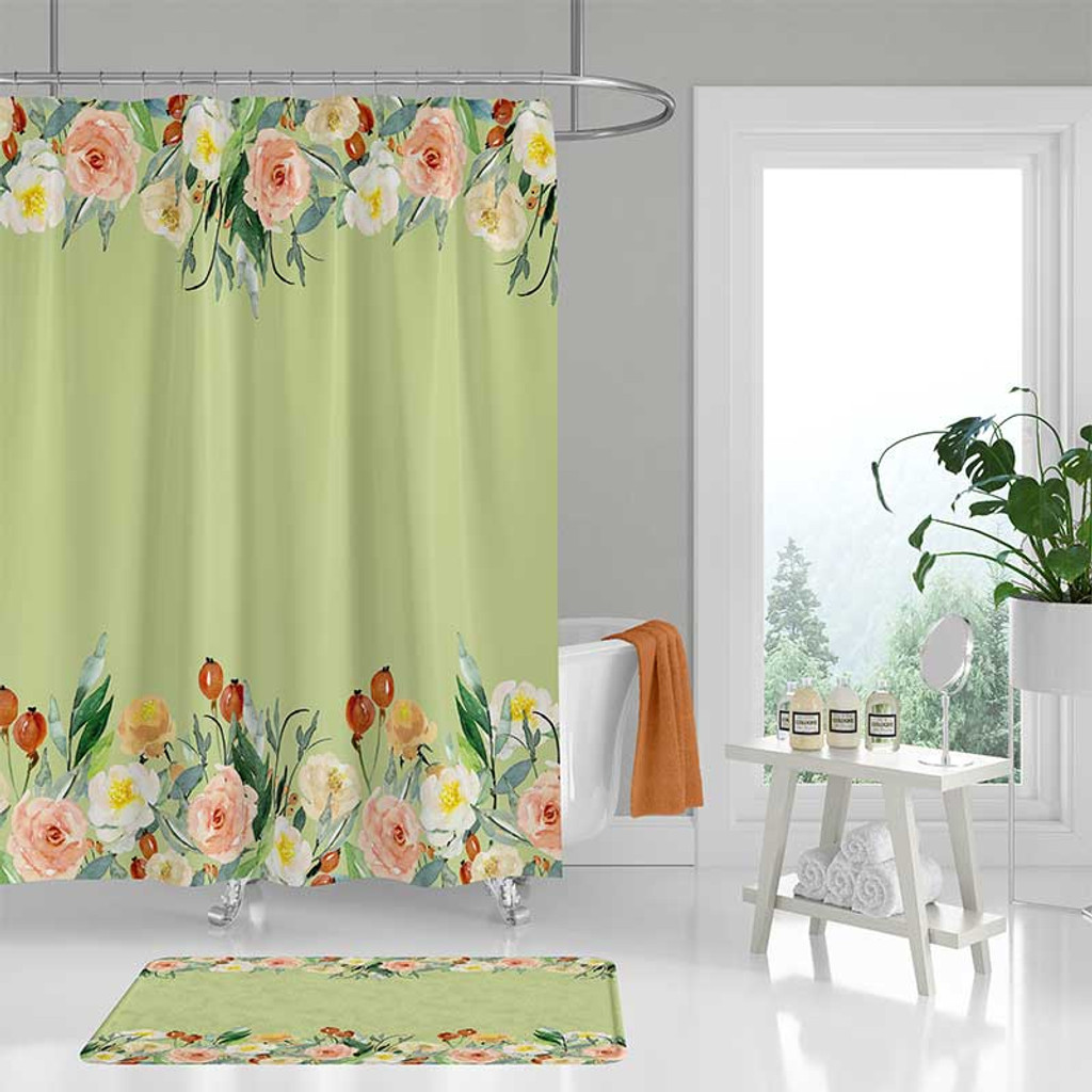 Mint green shower curtain with floral design