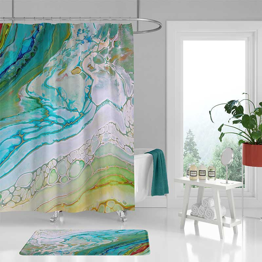 Coastal Shower Curtain And Bath Mat Seafoam Green Blue Bathroom Decor