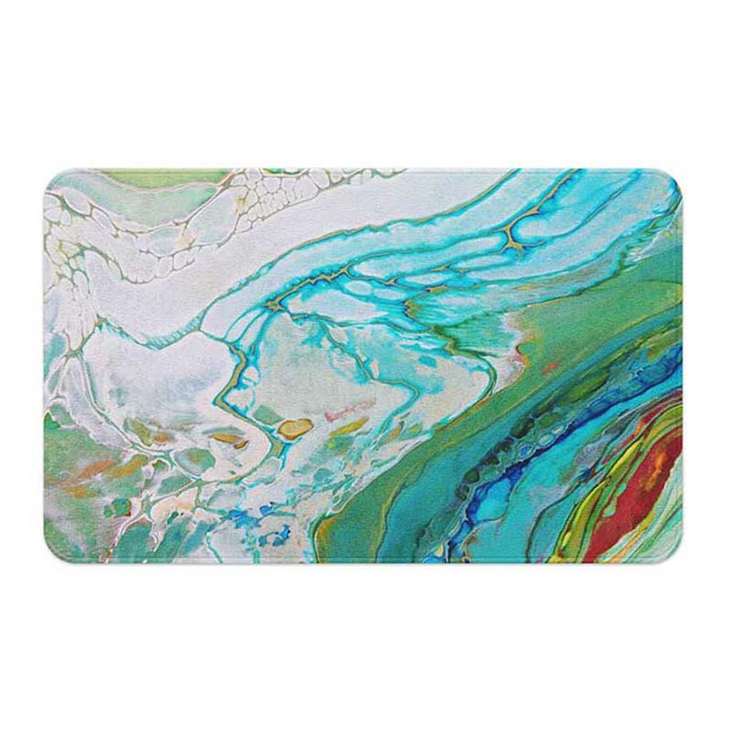 bath mat with coastal theme in blue, sea foam green and white