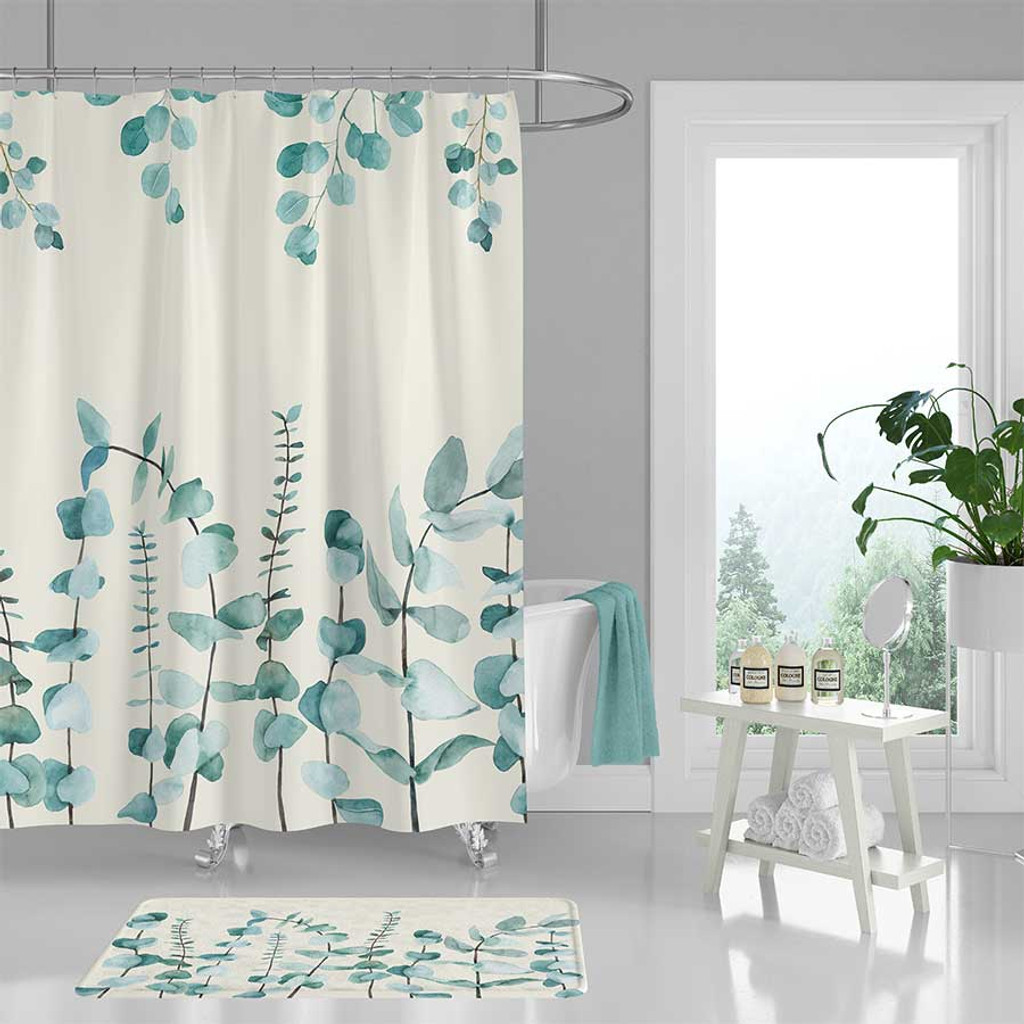 Tropical Leaves Design Polyester Fabric Shower Curtain Bath