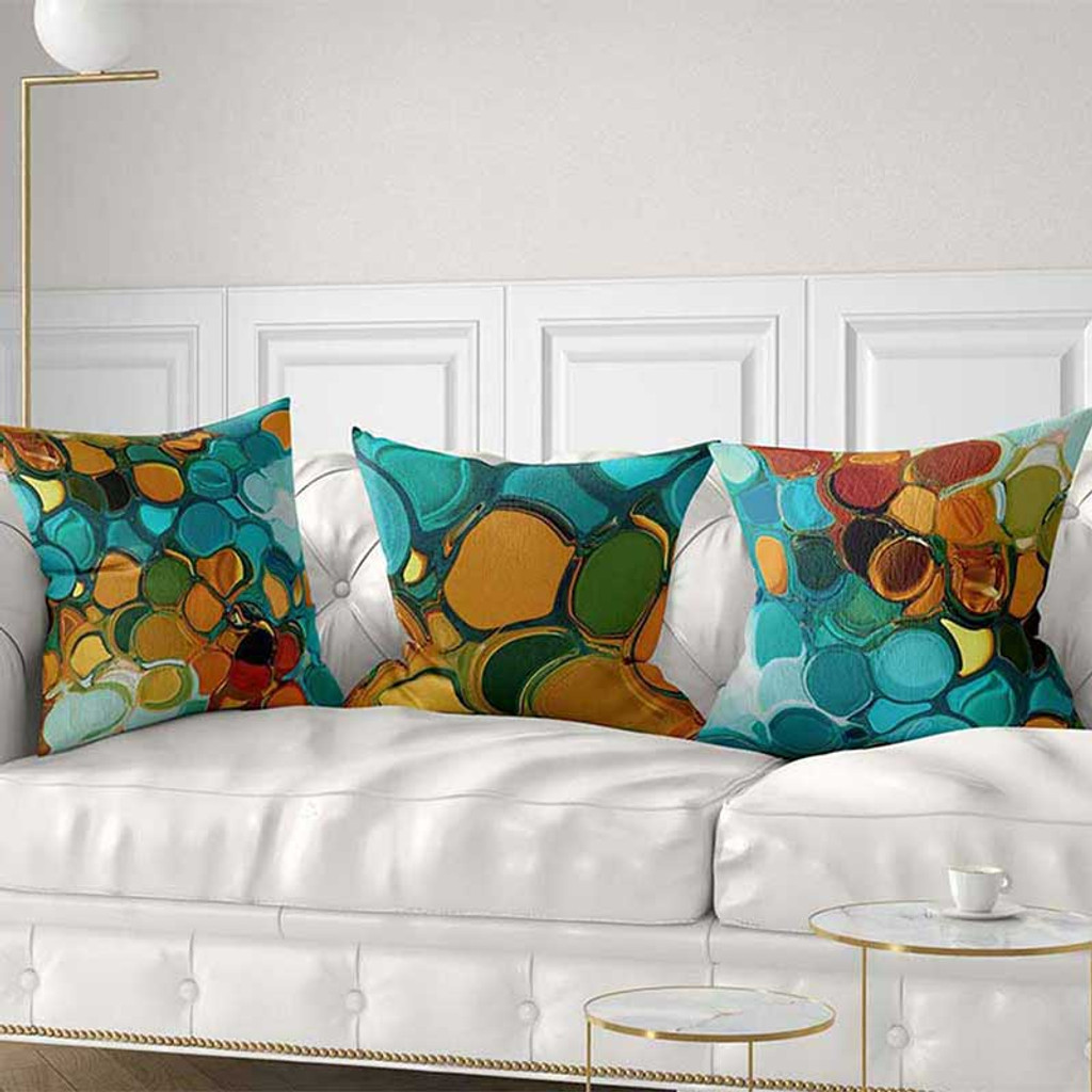 abstract throw pillow covers, blue and orange, by Julia Bars