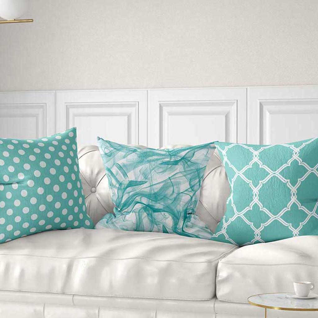 Aqua Blue And White Pillow Covers Trellis Polka Dot Throw Pillows