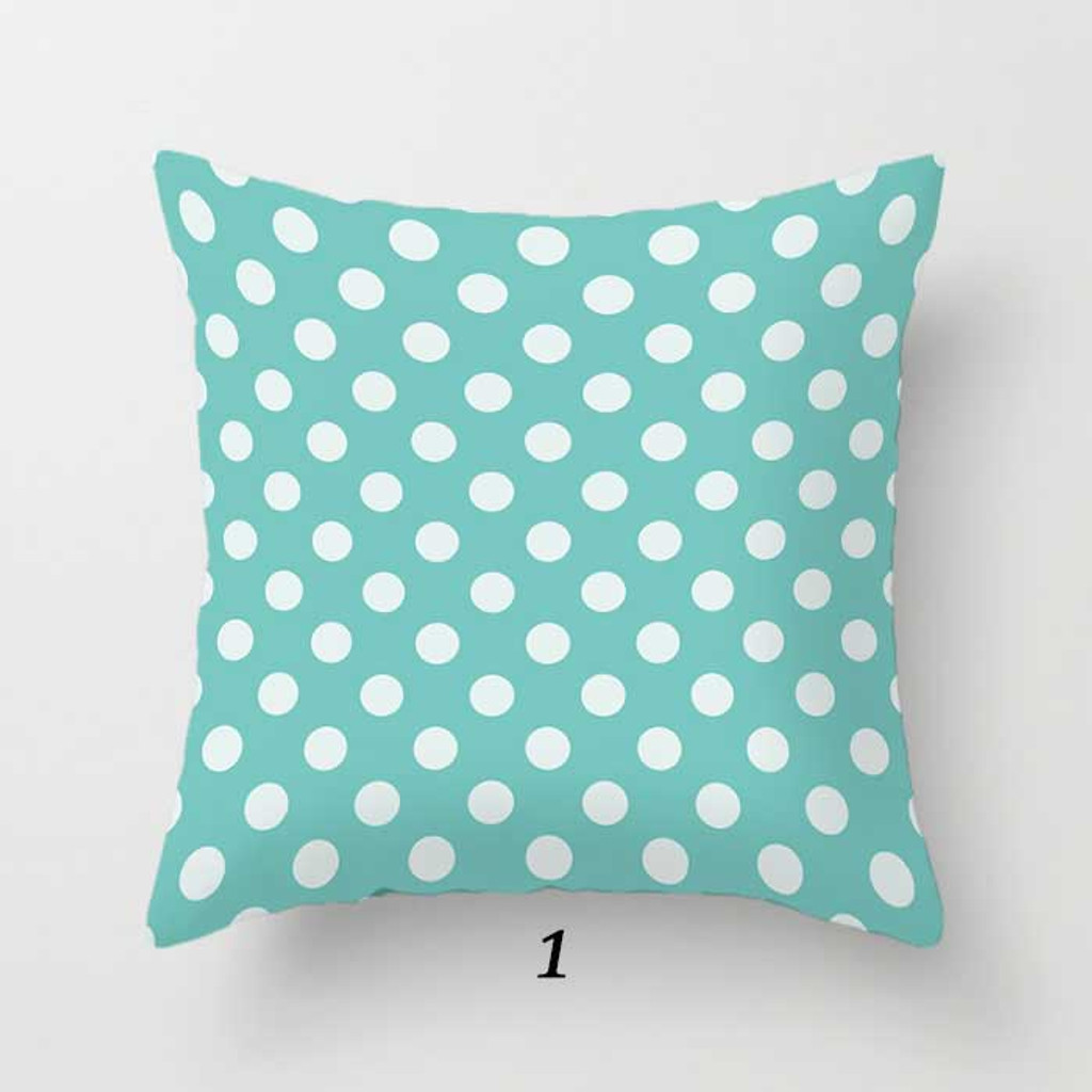 polka dot pillow in aqua blue and white