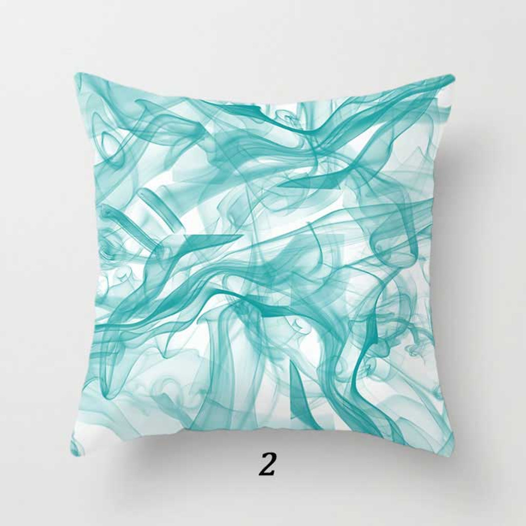 abstract pattern cushion in blue and white