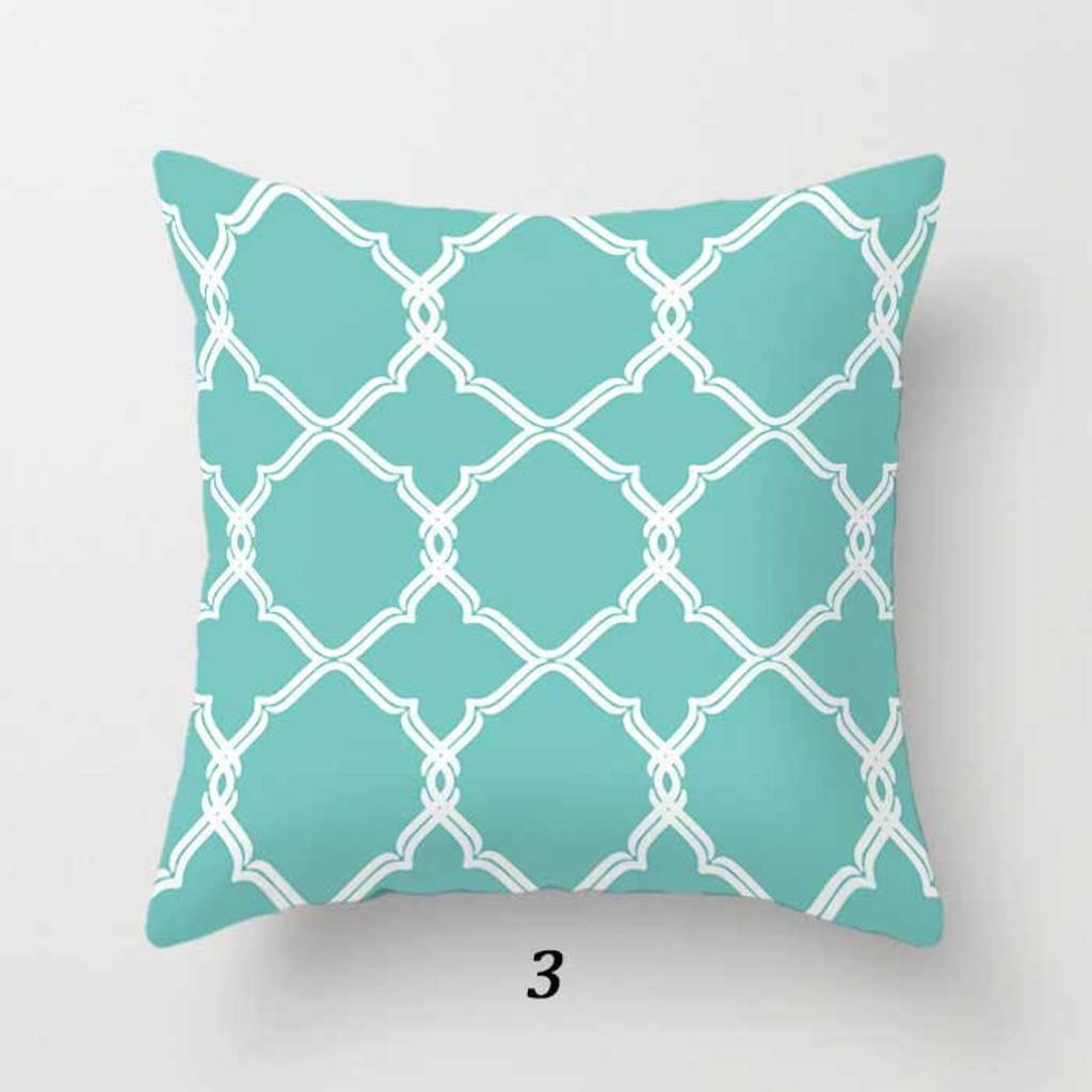 trellis throw pillow in light blue turquoise and white