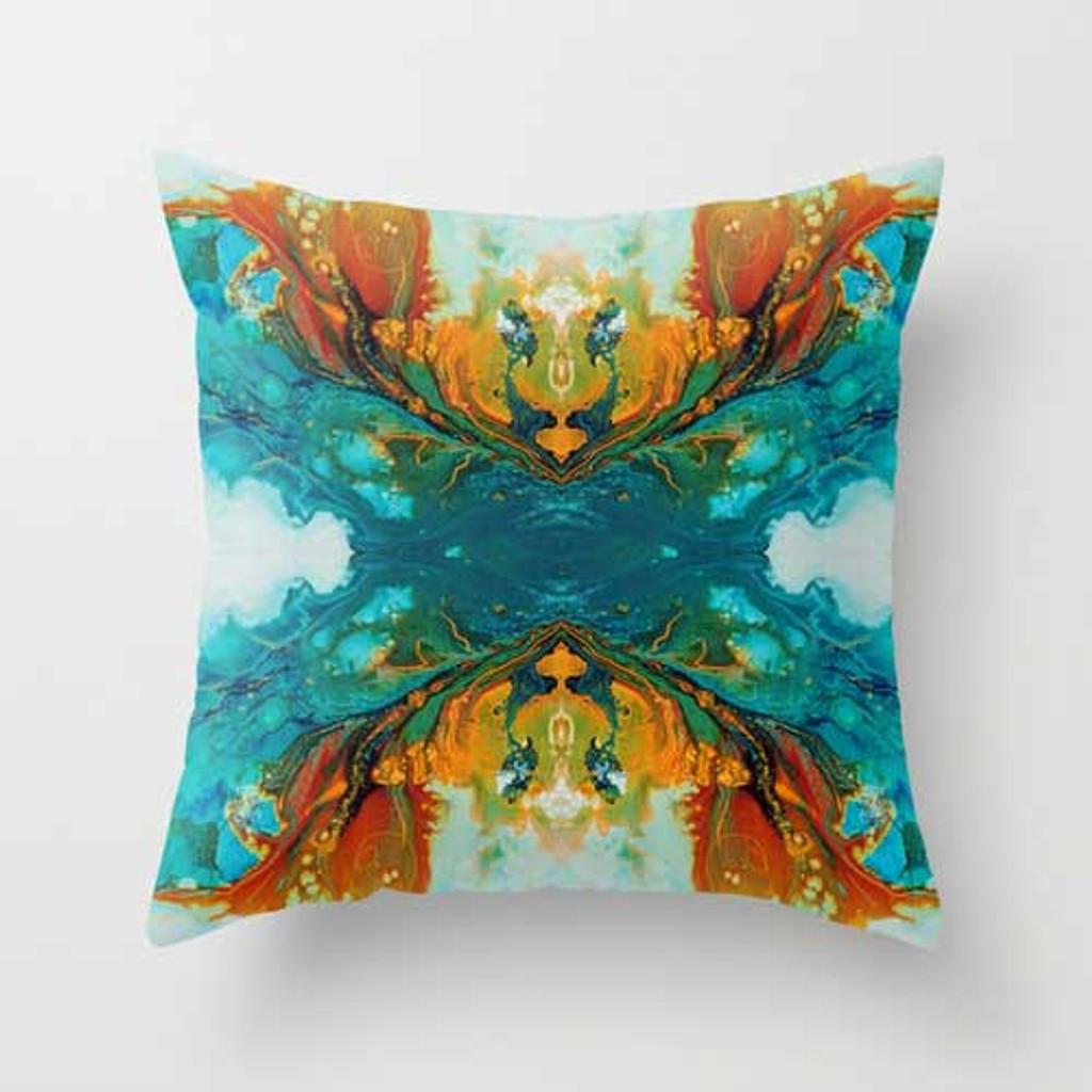abstract designer pillow, orange teal by Julia Bars Art