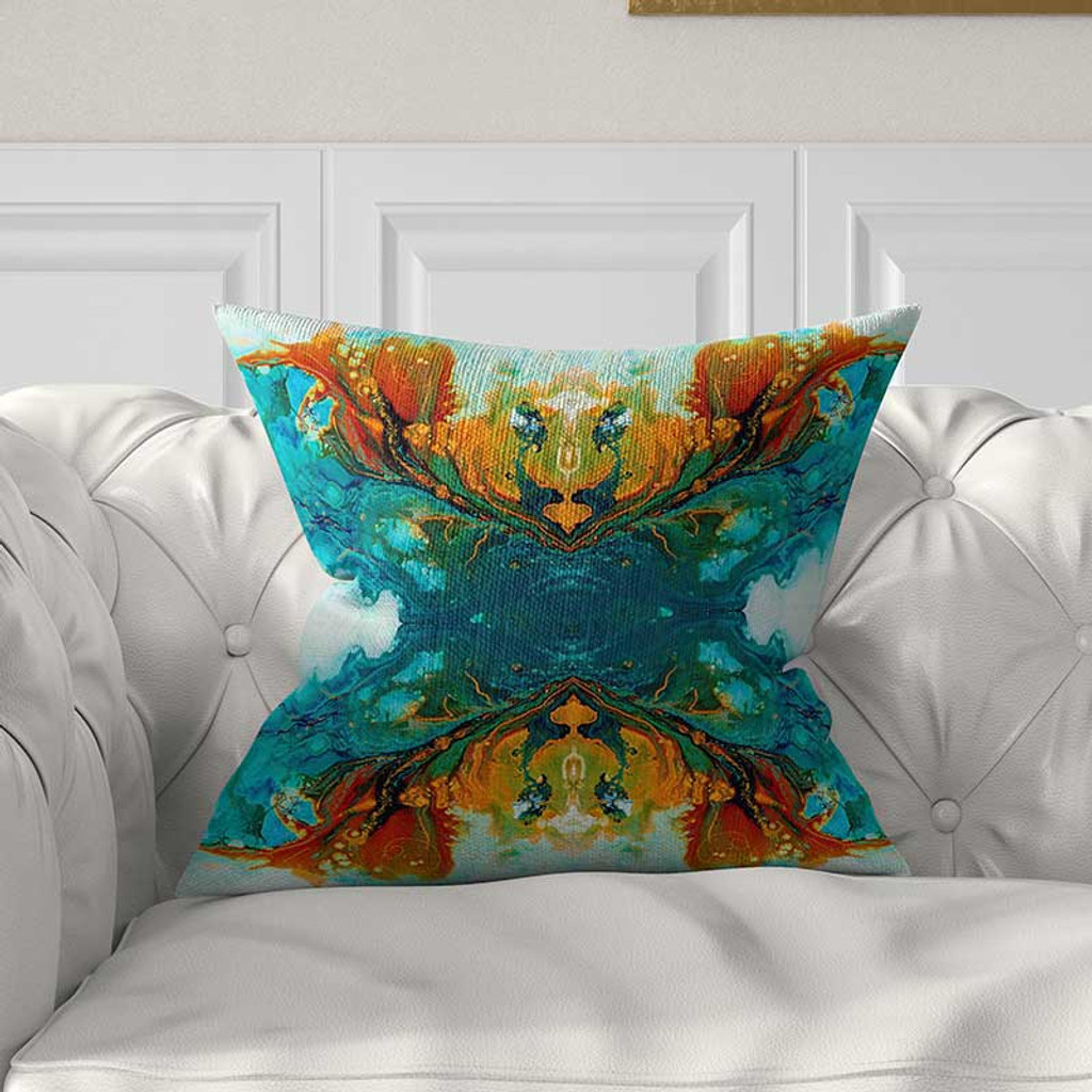 throw pillow cover for couch, abstract design in teal and orange