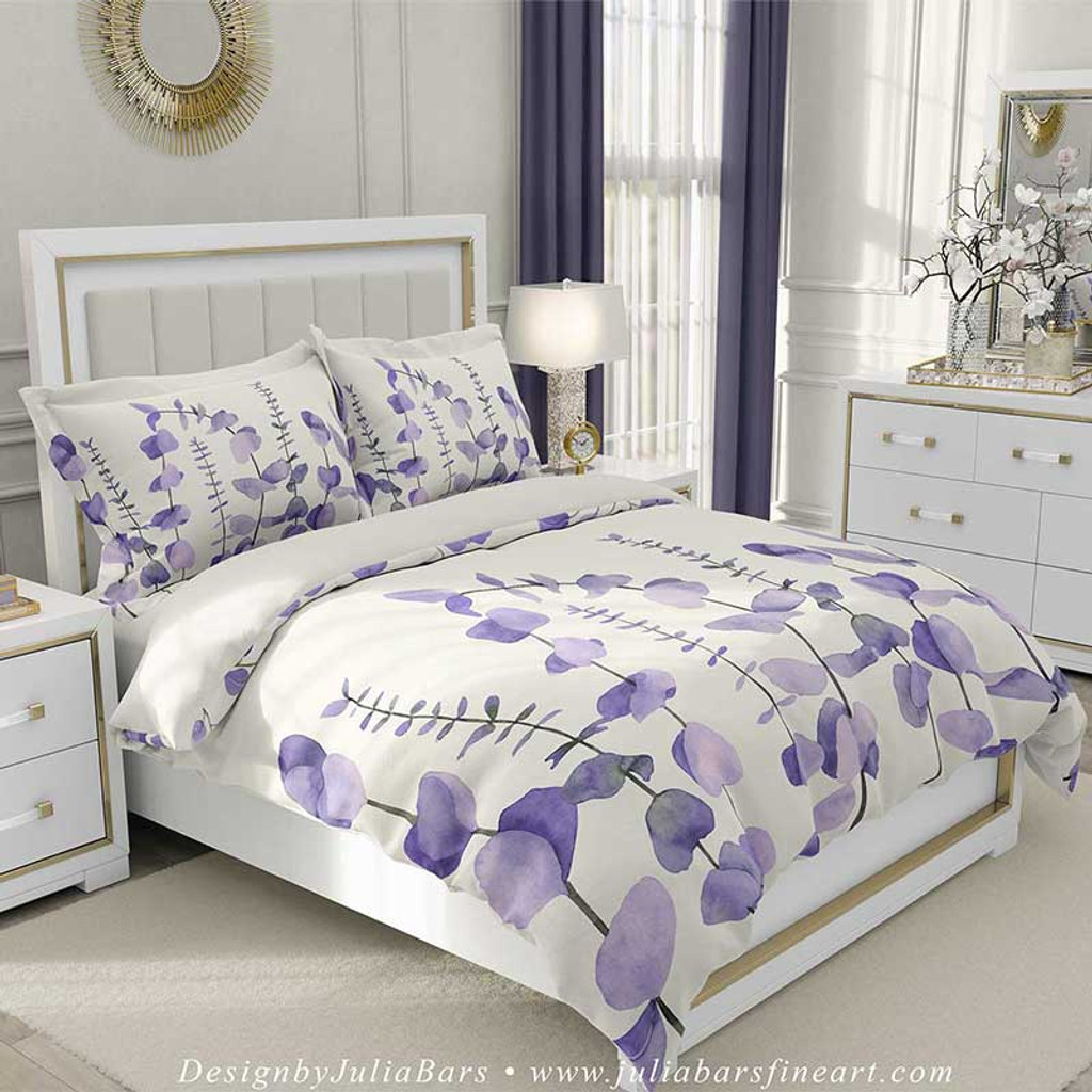 Eucalyptus Duvet Cover Tropical Leaves Bedding Set In Purple And White