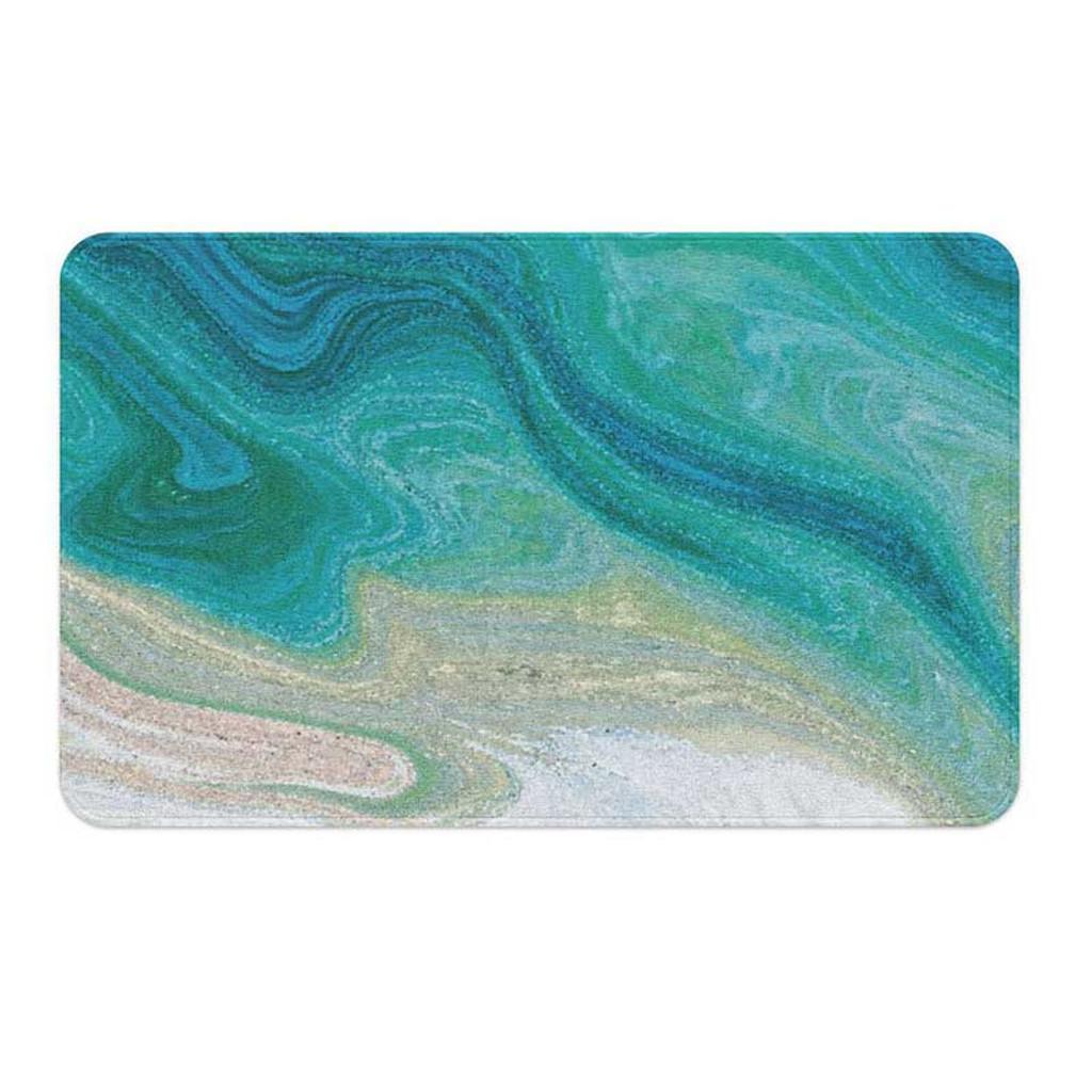 coastal bath mat in teal, green and white by Julia Bars