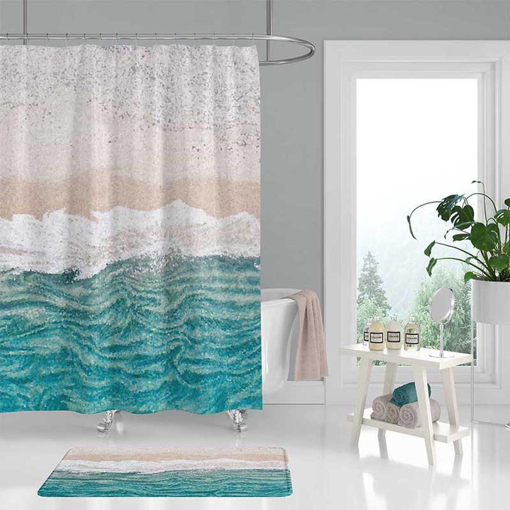 Ocean Wave Shower Curtain Bath Mat Abstract Coastal Decor Teal White Sand