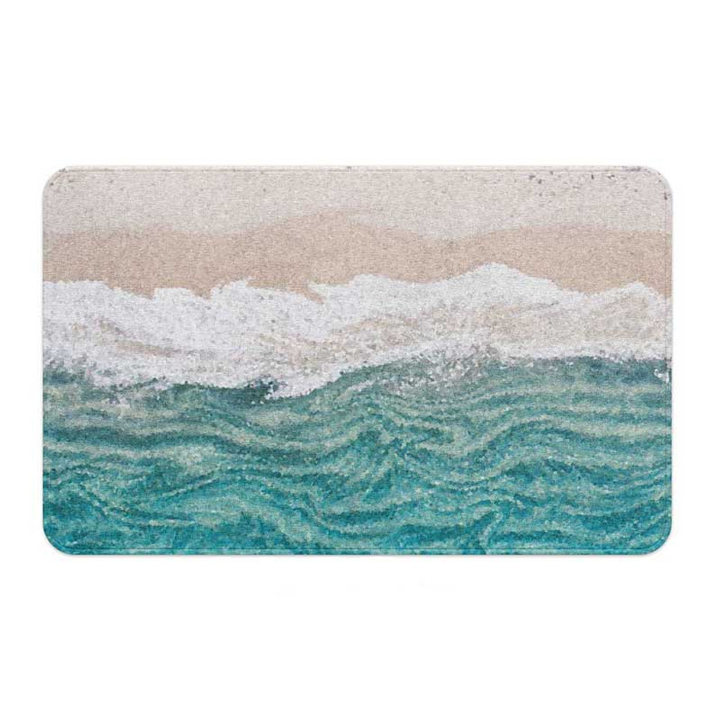 abstract wave bath mat in blue and beige