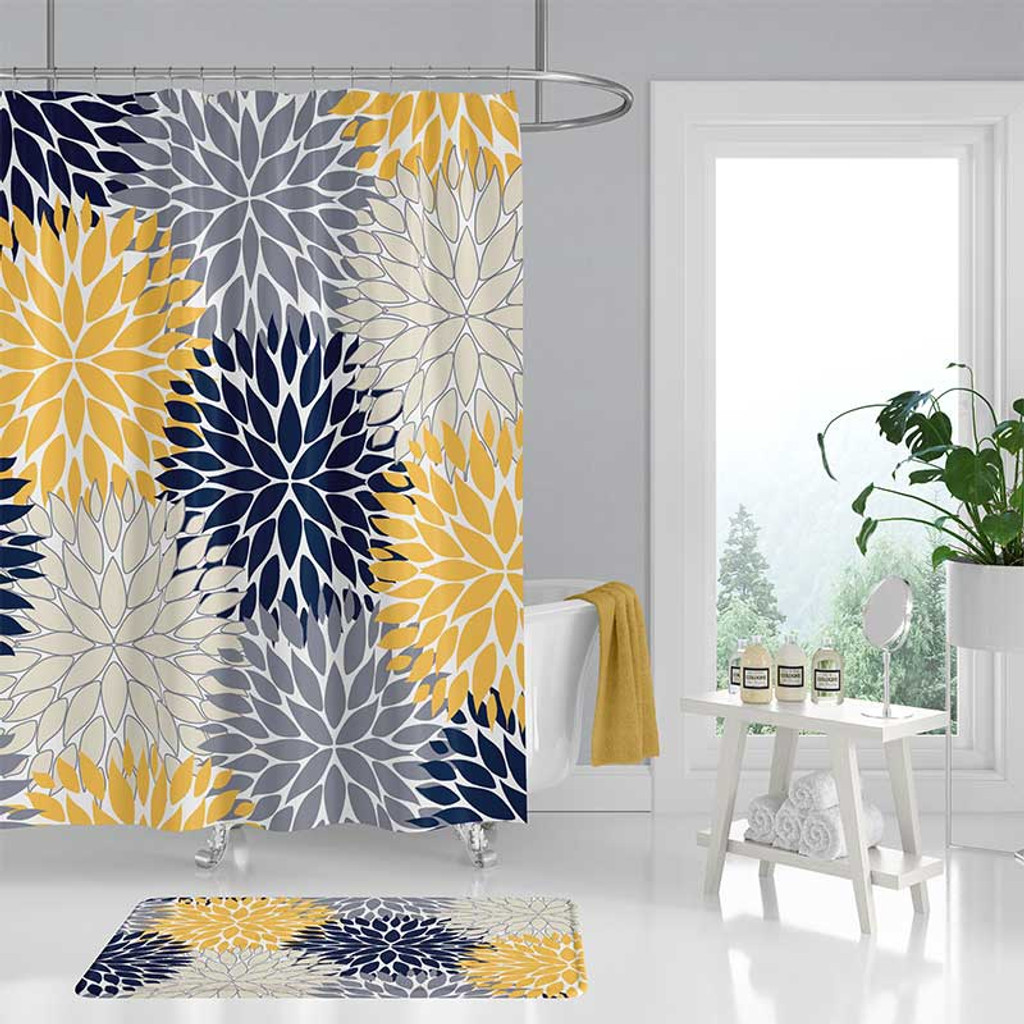 designer shower curtain and bath mat with dahlia flowers in navy blue and yellow