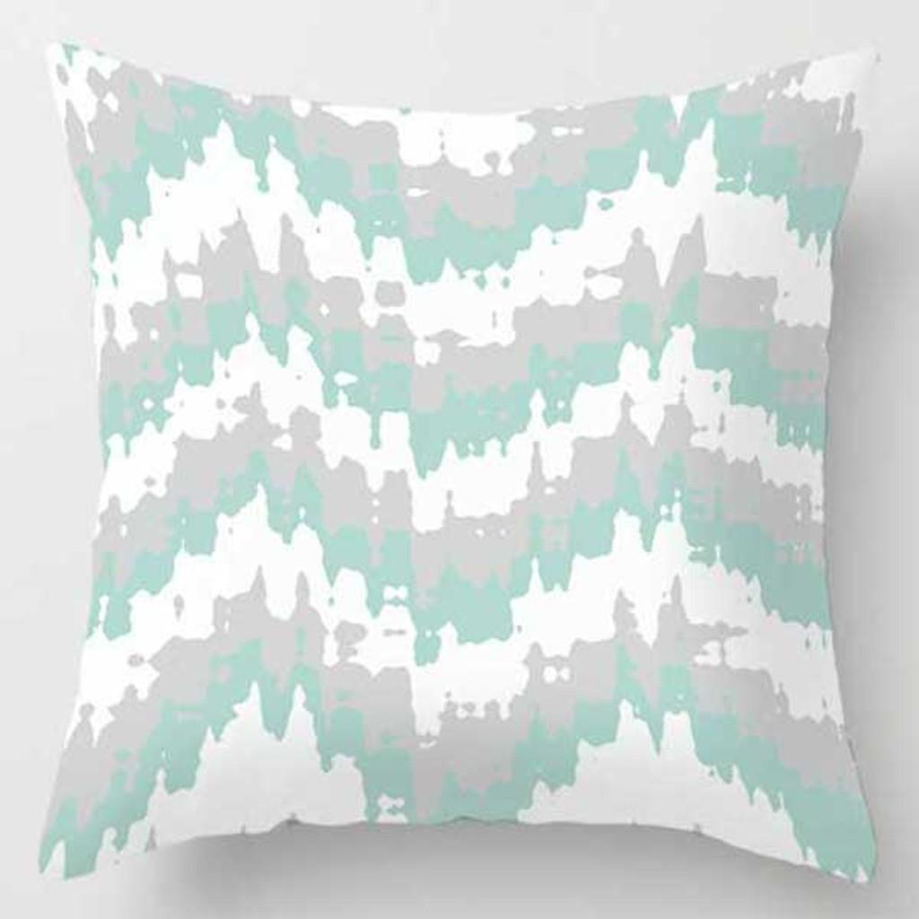 gray, beige and aqua blue throw pillow
