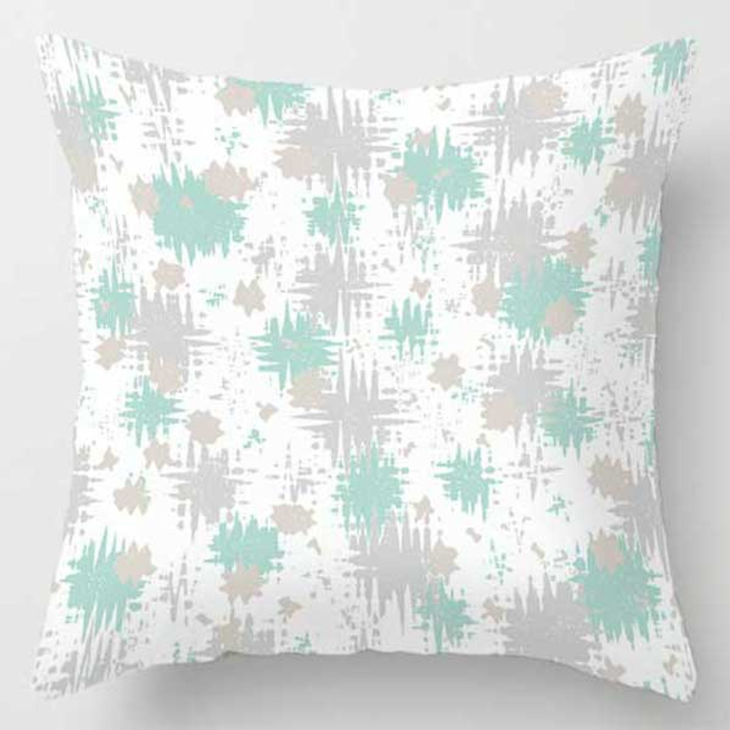 cushion with unique pattern in green and gray
