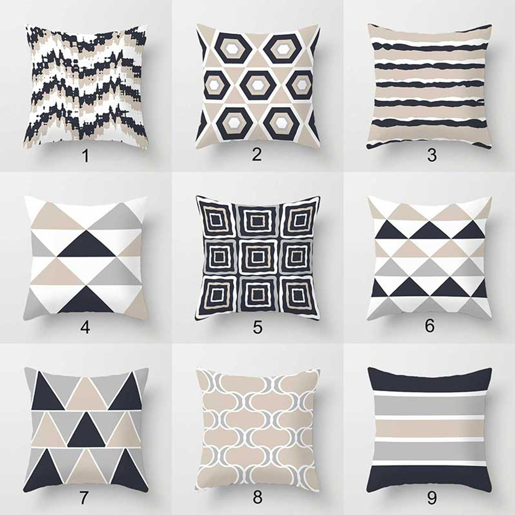 Dark Gray And Beige Throw Pillow Covers Geometric Cushion Covers