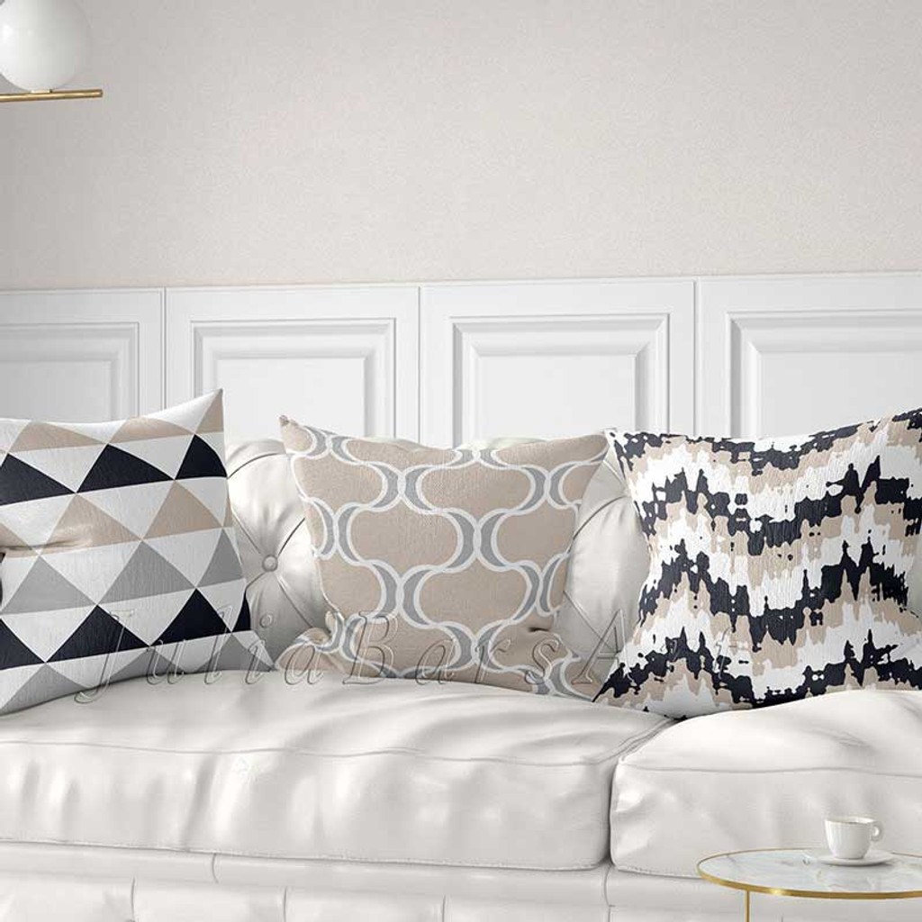 gray, beige and white decorative pillow covers