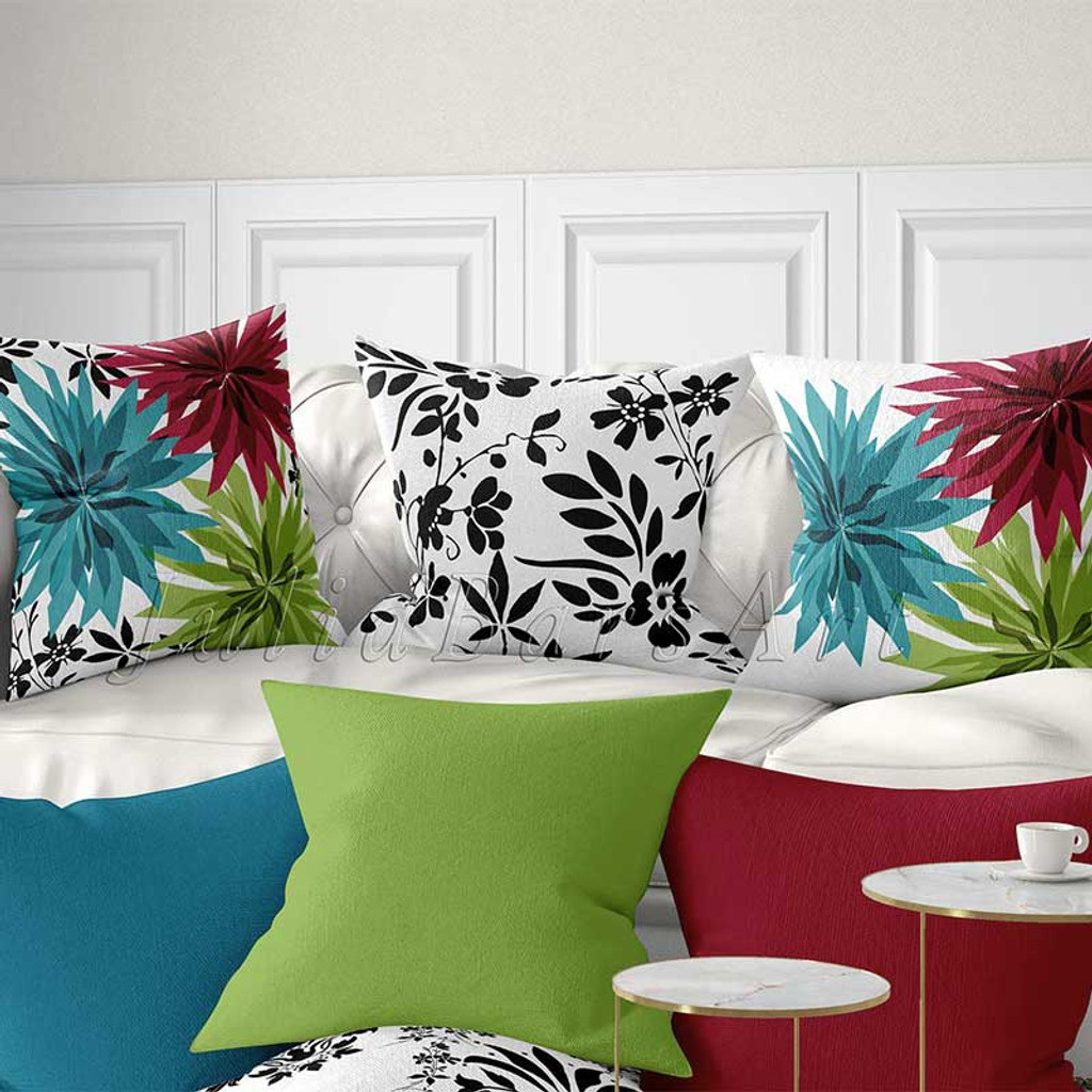 Floral Throw Pillow Covers Bright Cushion Covers Teal Green Red Black And White