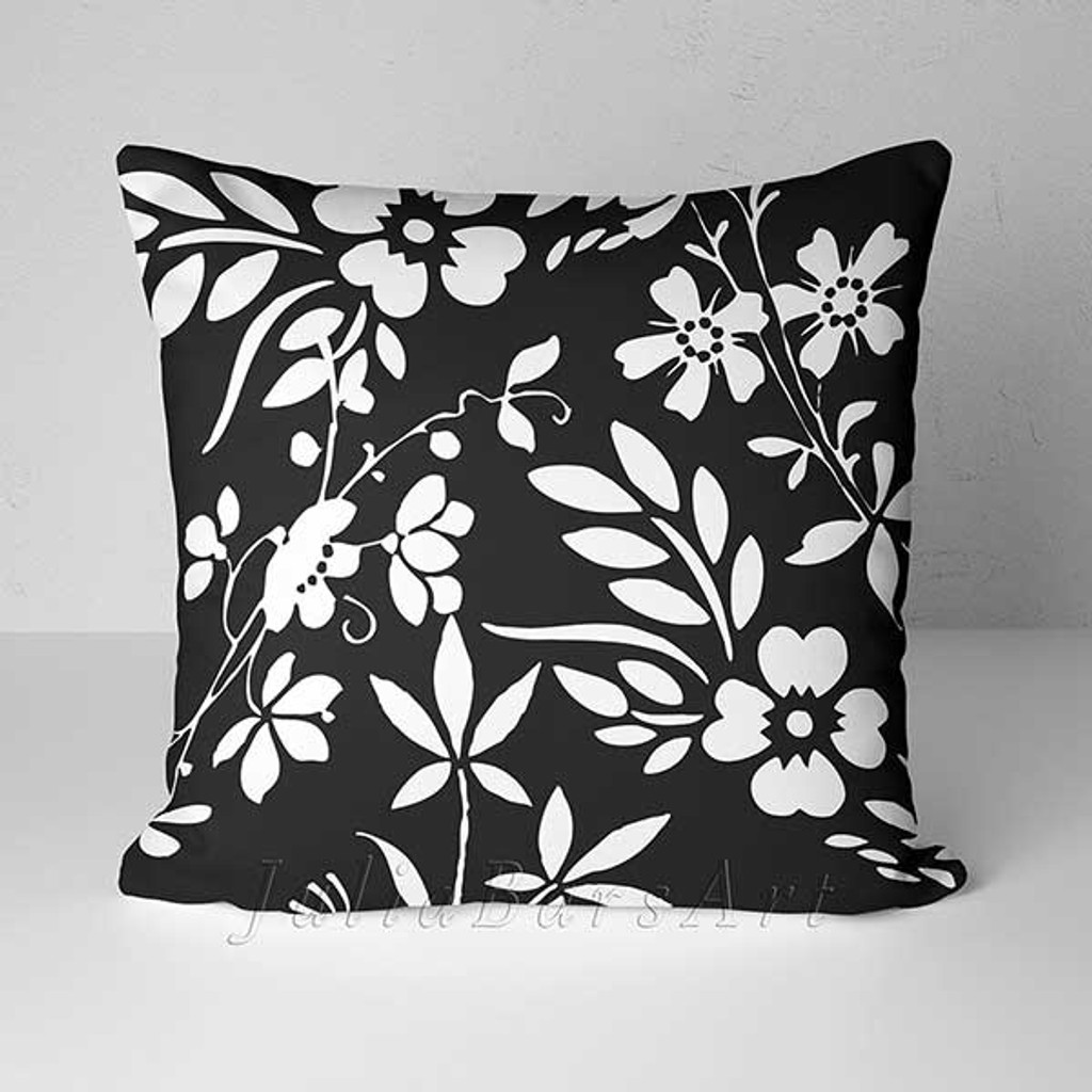 black and white floral throw pillow by Julia Bars