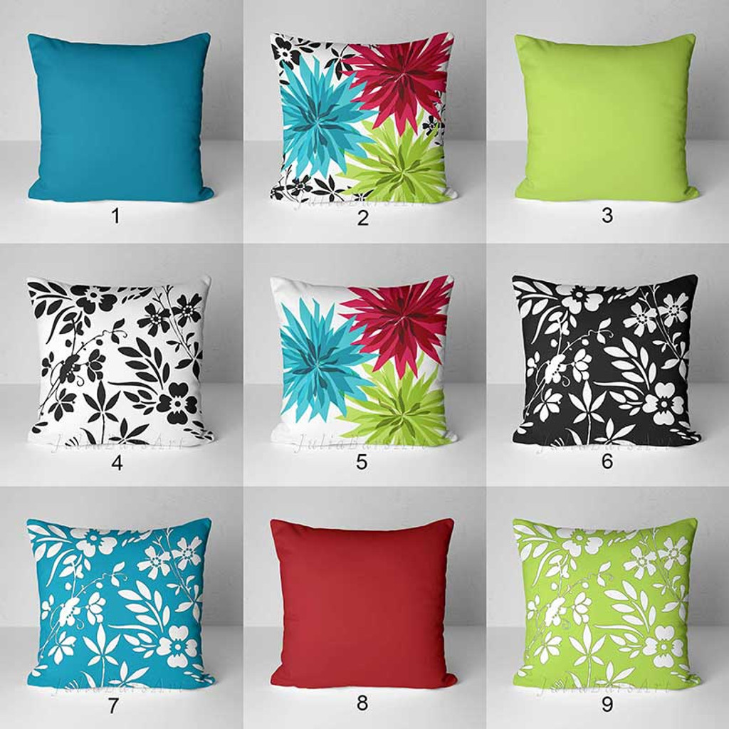 floral pillow covers in teal, red and green