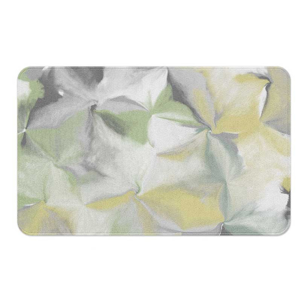 floral abstract bath mat in pastel colors